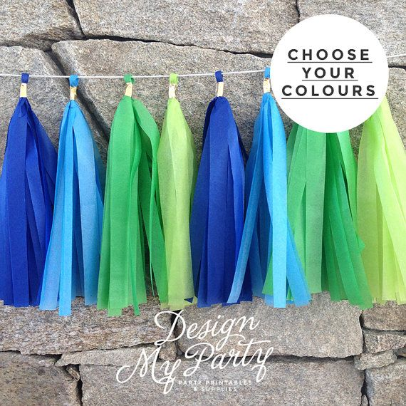 Blue & Green Party Mix Tissue Garland by DesignMyPartyShop on Etsy