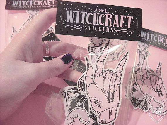 ☽ Witchcraft ☾ - - - - - - - - - - - - - - - - - - - - - - - - { ink on paper + photoshop } ▼ a series of 8 witchy stickers to put some magic in