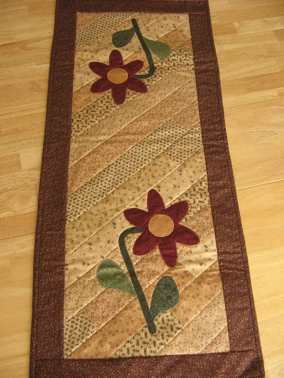 Blooming Flowers Appliqued and Quilted Table Runner by Cindew, $55.00
