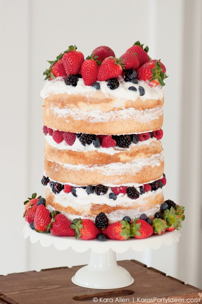 Naked Cake in under 15 minutes using store bought items! Celebrate America summer treats stand | 4th of July Party | Kara Allen | KarasPartyIdeas.com