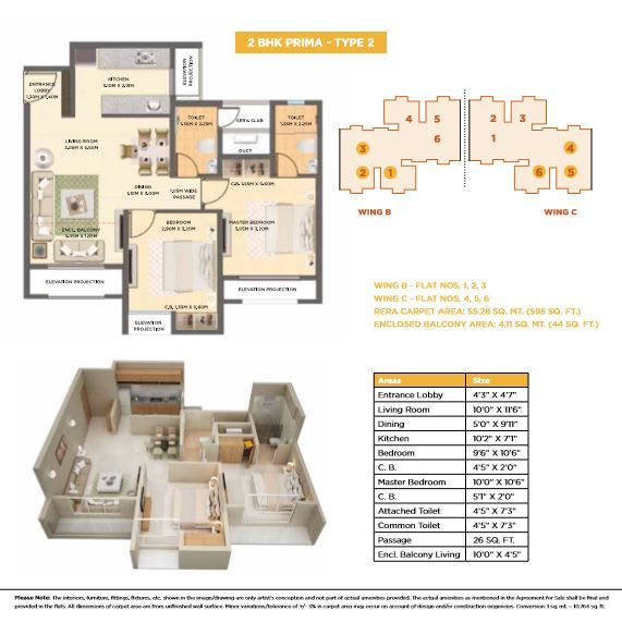 Dosti West County Dosti Oak Floor Plan Dosti Oak 2 Bhk Prima Type 2 Floor Plan Visit Https Www Rbrealty In Properties Dosti Floor Plans Oak Floors Oak