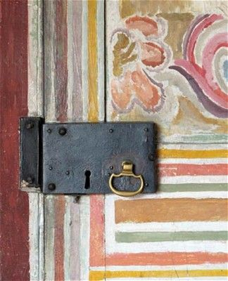 A door inside Charleston the home and country meeting place for the writers, painters and intellectuals known as the Bloomsbury group. Painted by Vanessa Bell, Virginia Woolf's sister.  http://www.etsy.com/shop/Colorbloom