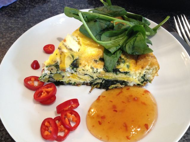 Baby Spinach and Yellow Pepper Fritatta