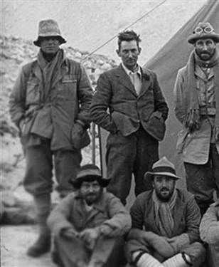 """George Mallory (18 June 1886 – 8 or 9 June 1924). During the 1924 British Mount Everest Expedition, Mallory and Andrew """"Sandy"""" Irvine (on the left) disappeared somewhere high on Everest's North-East ridge. The pair's last known sighting was only about 800 vertical feet from the summit. Mallory's fate was unknown for 75 years, until his body was discovered on 1 May 1999. Whether Mallory and Irvine reached the summit before they died remains a subject of speculation and continuing research."""