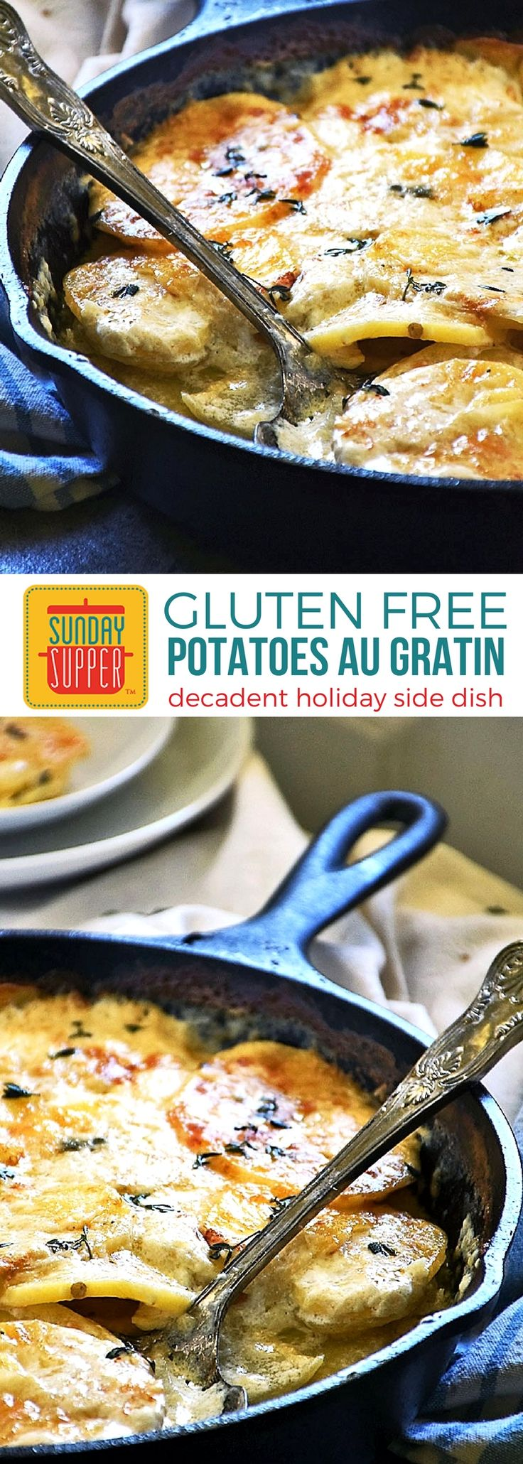 Gluten Free Au Gratin Potatoes is the ultimate side dish for the holidays. An easy recipe with creamy garlicky potatoes & a cheesy crust everyone will love! Naturally gluten free, you'll want to serve this delicious side dish for Thanksgiving, Christmas, Easter, and any time you want an ultimate comfort food recipe to enjoy. #SundaySupper #GlutenFree #HolidayRecipes