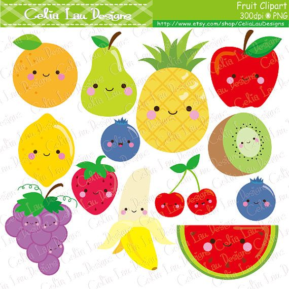 Kawaii Fruit Clipart Cute Fruit Clip Art  Food clipart