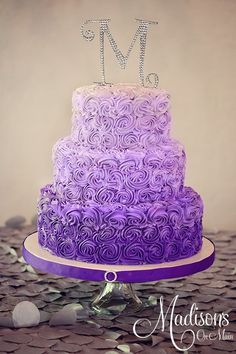 3 tier purple wedding cake 1m roses - Google Search