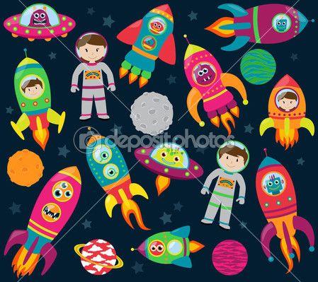 colección de dibujos animados rocketships, alienígenas, robots, los astronautas y los planetas del vector — Ilustración de stock #51923811