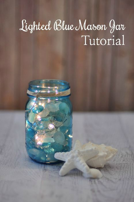 DIY Lighted Blue Mason Jar Tutorial --> so pretty. from @jodigrundig #LightYearsAhead, #Sp and @StriVectin
