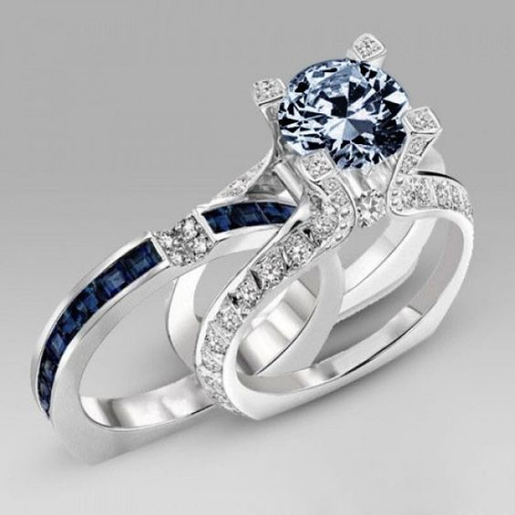 www.evolees.com/… Navy Blue Diamond Special Design Two-in-one Wedding Ring Set