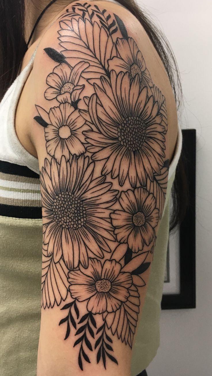 2017 06 lotus flower tattoo - Number 4 Half Sleeve Wildflower Tattoo Took About 3 1 2 Hours