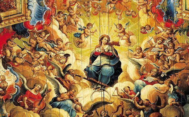 Teto da Igreja de São Francisco de Assis, pintado por Ataíde Manoel da Costa, e Aredes com talha de Aleijadinho