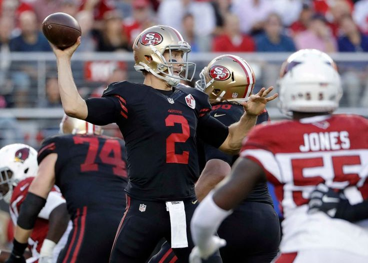 Thursday Night Football: Cardinals vs. 49ers  -  October 6, 2016:  33 - 21, Cardinals  -     San Francisco 49ers quarterback Blaine Gabbert (2) passes against the Arizona Cardinals during the first half of an NFL football game in Santa Clara, Calif., Thursday, Oct. 6, 2016.