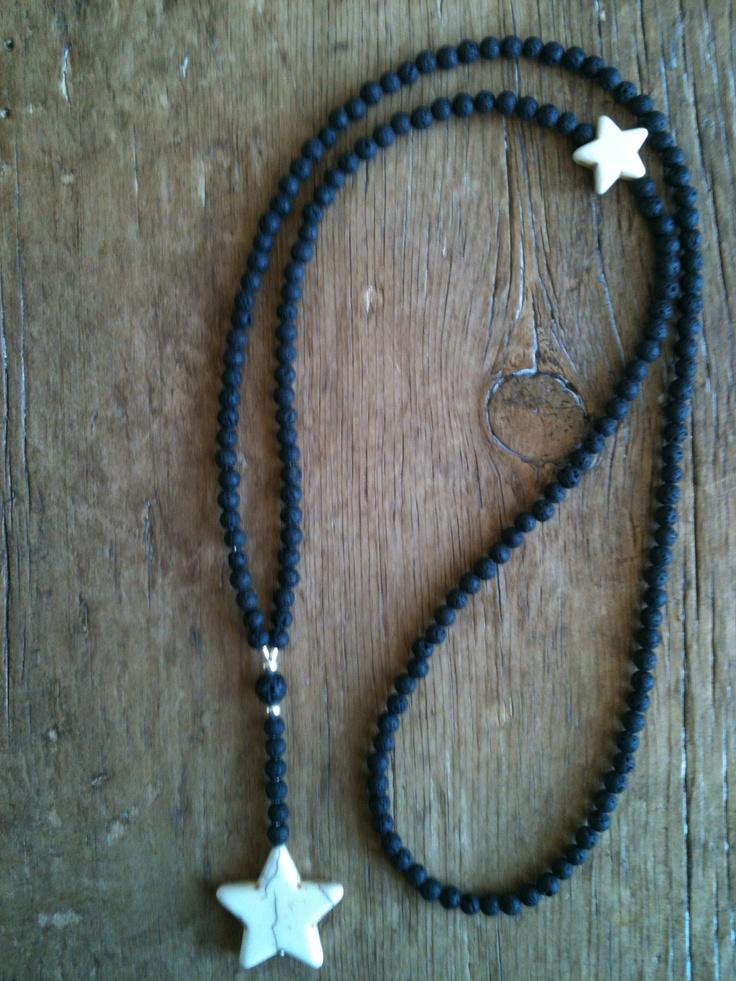 Mai Johansson - Necklace in lava stones and white star