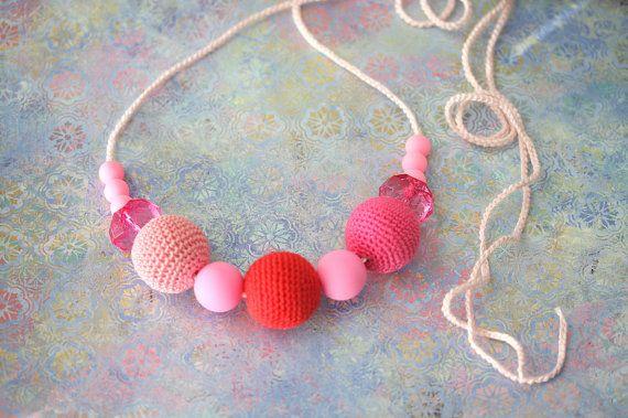 Readytoship Pink crochet necklace nursing by ForeverValues on Etsy, $23.00