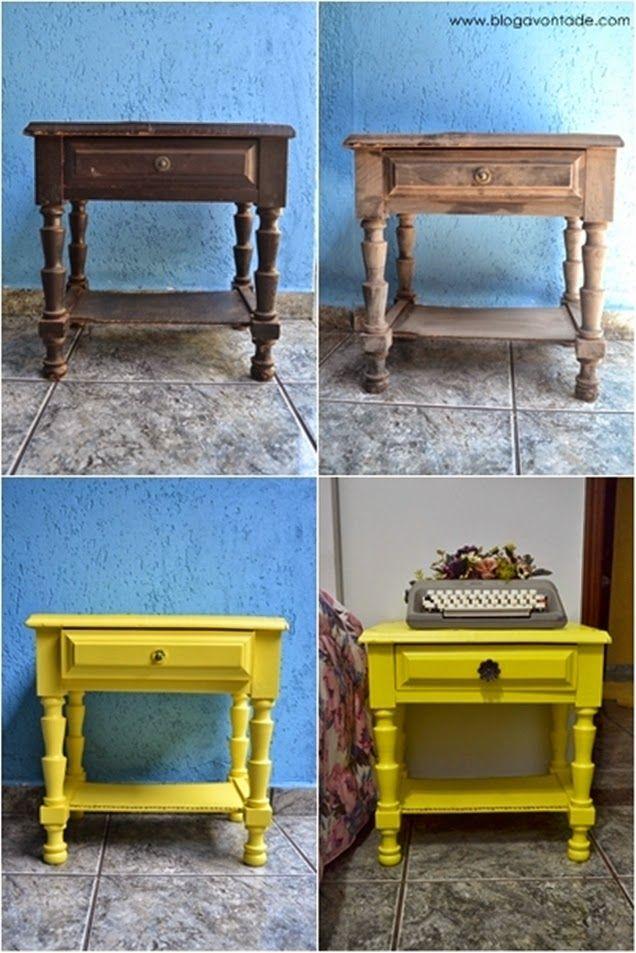 Blog Avontade: DIY: Criado mudo, Amarelo retrô