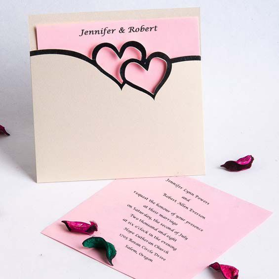 romantic pink and black double hearts pocket wedding invitation set EWRI026 as low as $1.69