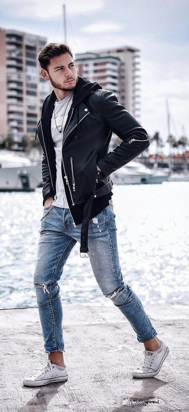 18 Street Style Biker Jacket Outfit Ideas For Men In 2019 Ropa De Moda Hombre Moda Ropa Hombre Chaqueta De Mezclilla Para Hombres