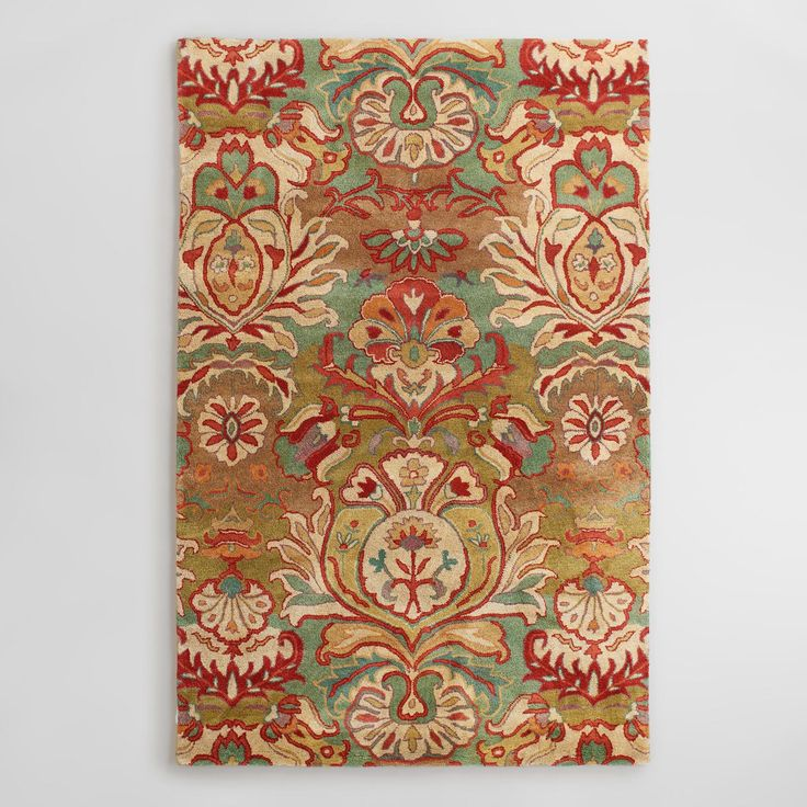 Floral Medallion Tufted Wool Area Rug