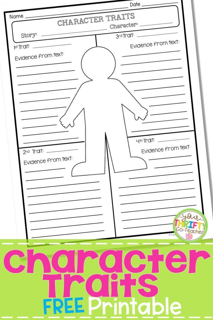 Character Traits Worksheet 4th Grade In 2020 Character Trait Worksheets Character Traits Graphic Organizer Readers Workshop Mini Lessons
