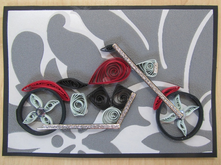 Quilling for father's day, motorcycle, bike, Harley