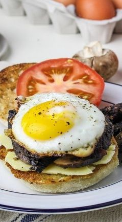 English breakfast sandwich - Key ingredients: English muffins Egg Cheddar cheese Sliced black pudding (but you can probably substitute sausage instead)