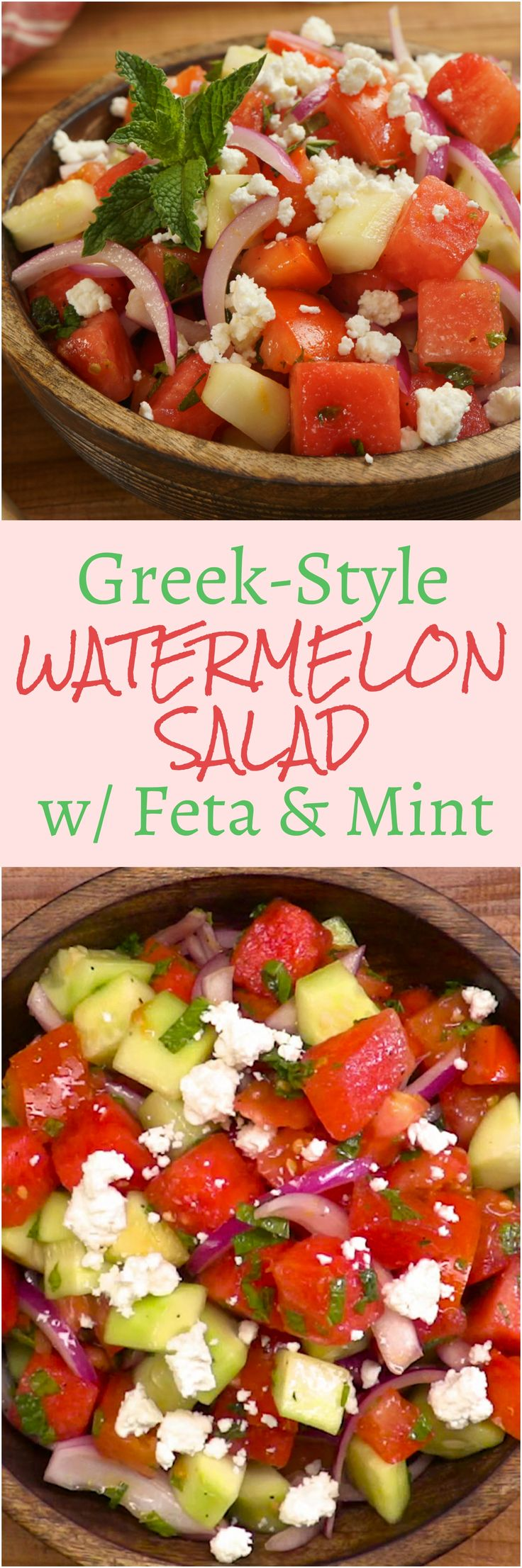 Healthy, refreshing, and unexpected Mediterranean summer salad with mellow watermelon, cucumber, tomatoes, zingy red onion, feta cheese, and cool mint.