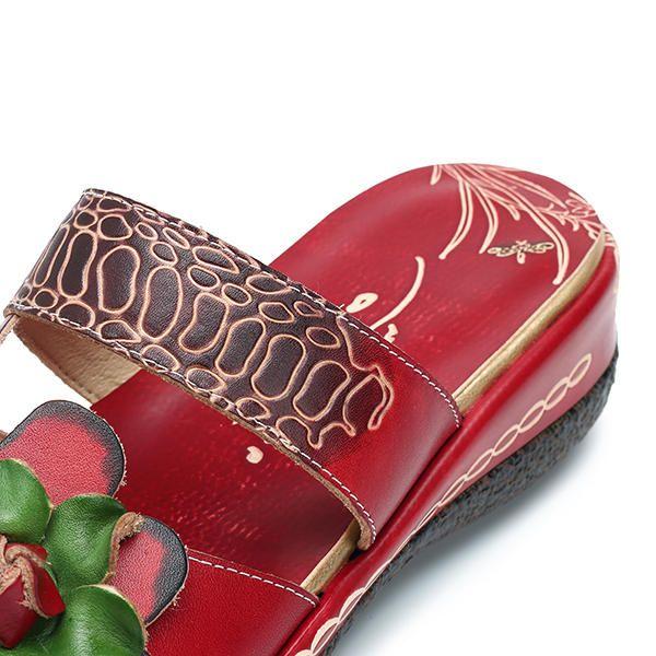 Socofy Original Handmade Slippers Floral Shoe Platform Retro Sandals - US$68.99