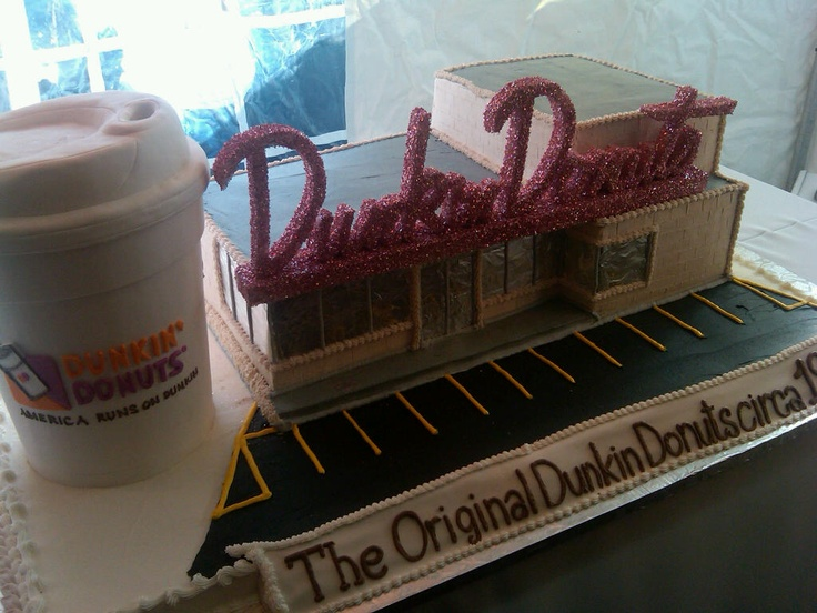 A cake built to look like the original Dunkin' Donuts restaurant in Quincy, MA. Truly a work of DD art!
