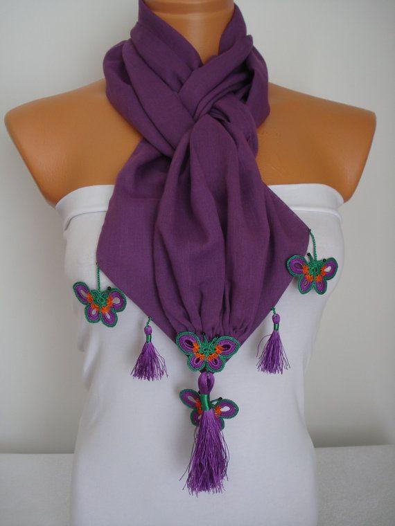 Butterfly Scarf-Anatolian Oya Scarf Hand by SuHandmadeStore