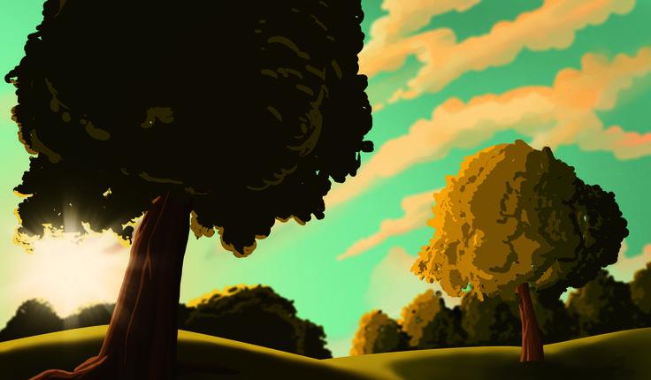 #illustration #background #park #trees #sunset #sun #highcontrast #controluce #parco #alberi #erba #photoshop