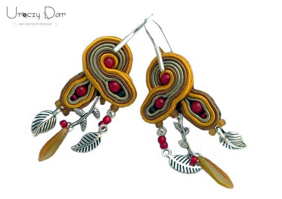 Art earrings with coral and leaves