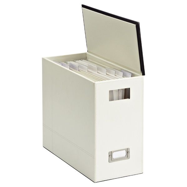 Portable Desktop File Box Organize your projects or clients. Full coordinating set for  pencil cup, letter sorter and letter trays for your desk.  containerstore.com
