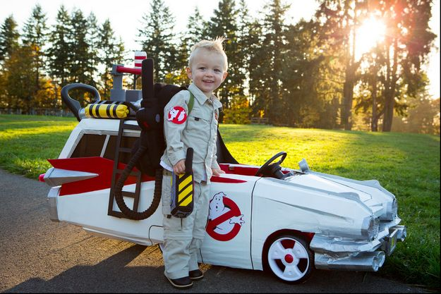 Ghostbuster uniform and Ectomobile from Ghostbusters. | 19 Awesome DIY Halloween Costumes To Start Making Now