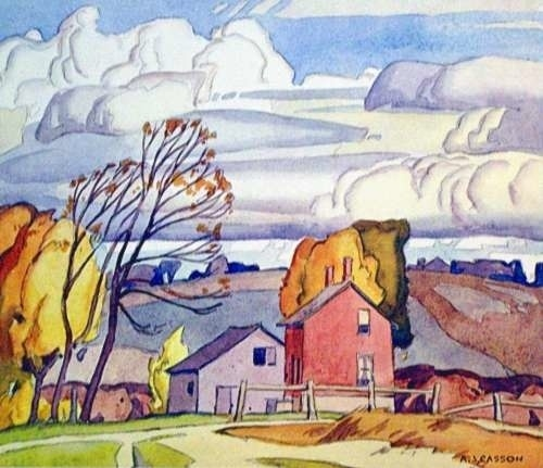 "A.J. Casson - ""Old Farm House"" - I love how he painted the clouds!"