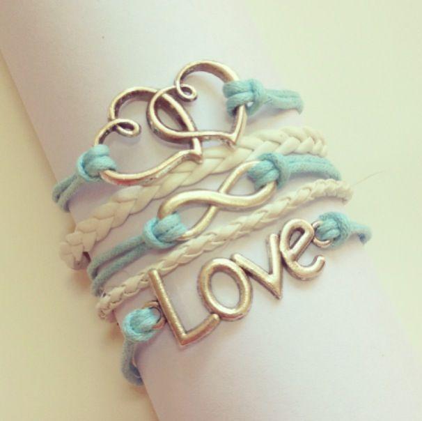 Light Blue Wax Cord Double Heart, Love