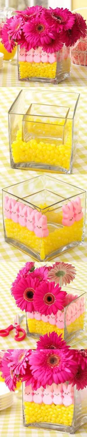 Easter Peeps Centerpiece from Taste of Home. You could also fill it with MnM's, small cars and cars on top.