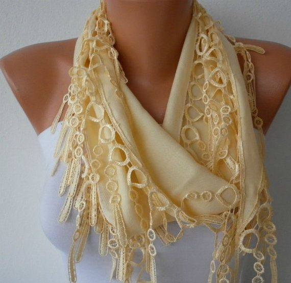 Light Yellow Scarf   Pashmina Scarf   Headband by fatwoman on Etsy, $13.50
