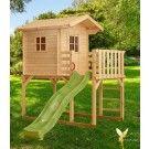 Woodinis Kinderspielhaus aus Holz auf Stelzen grüne Rutsche