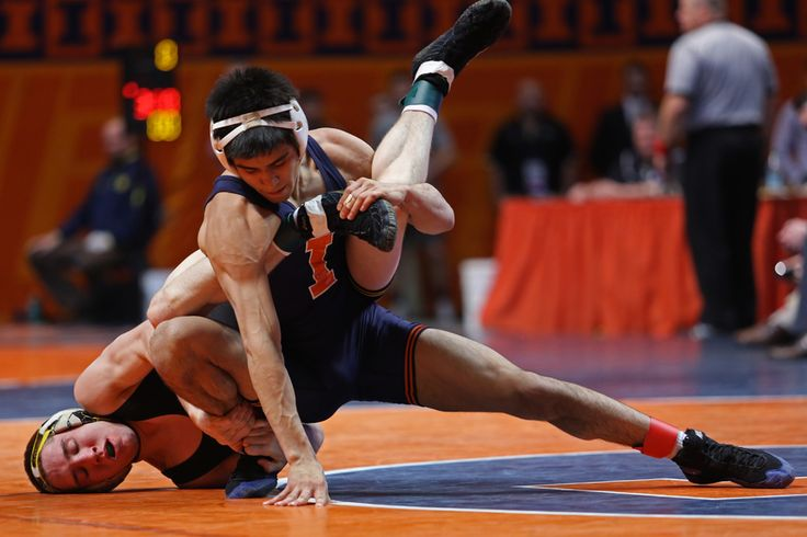 By Joseph Lee, The Daily Illini.  Illinois' Jesse Delgado wrestles against Iowa's Matt McDonough during the Big Ten Wrestling Championships. Delgado won the 125-pound weight class at Assembly Hall on Sunday, March 10, 2013.