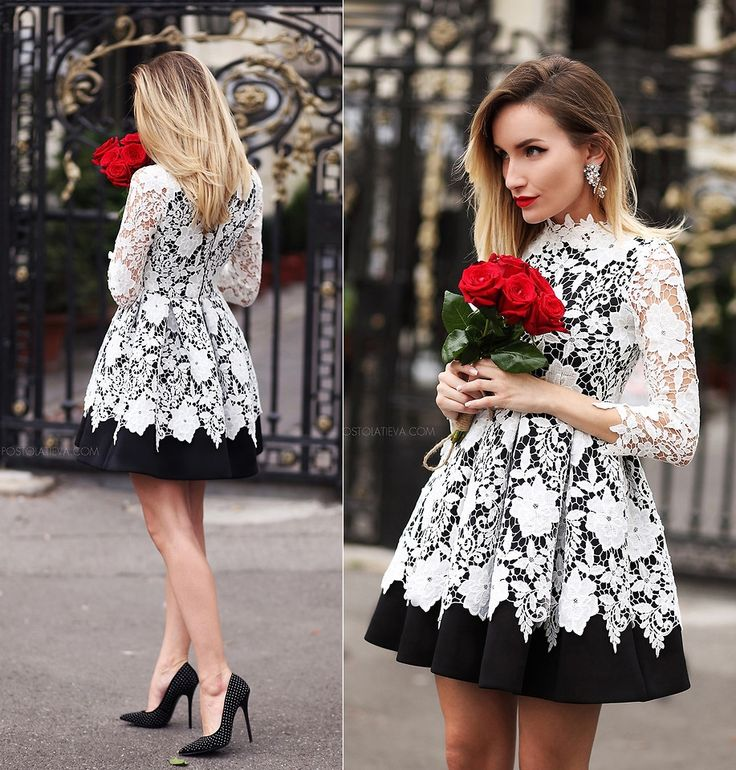 Sukienka  koronkowa czarno biała bombka