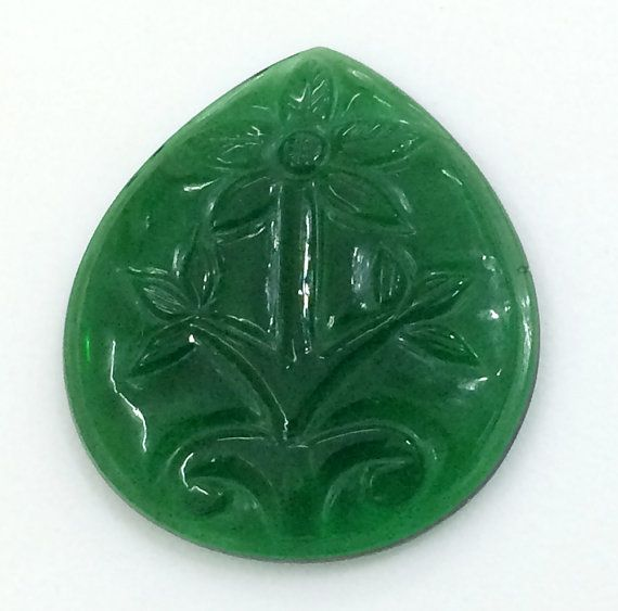 Green Glass Hand Carving Mughal Carving Hand by gemsforjewels