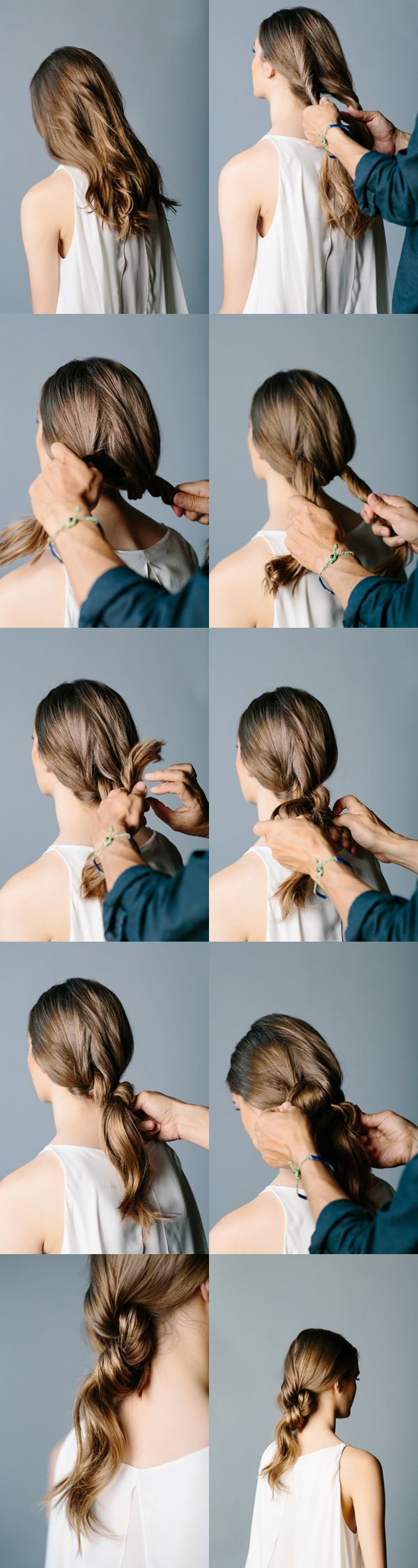 This double-knot ponytail is elegant, and takes about a minute.