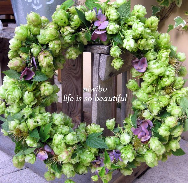 Hopfenkranz mit Hortensien und Clematisfruchtständen - Septemberkranz
