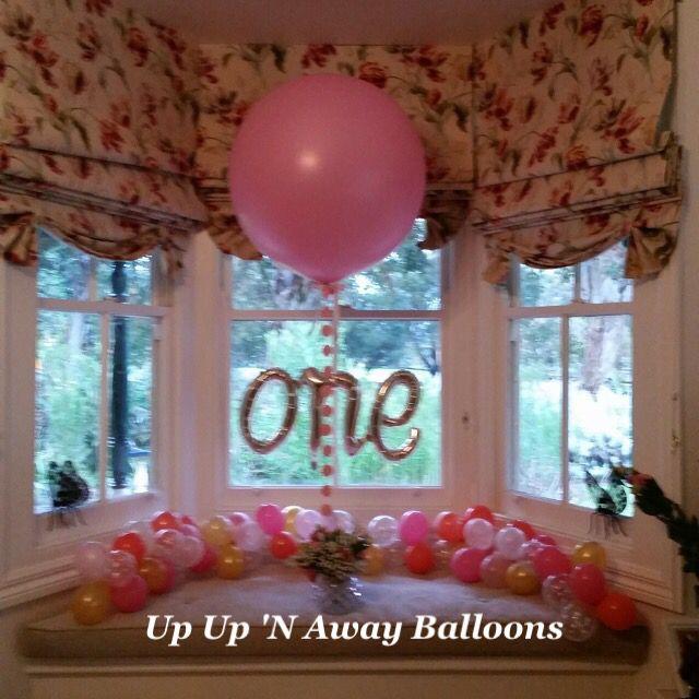 Organic garland table runner balloons and beautiful 3ft pearl pink balloon