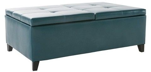 Christopher Knight Home Alfred Faux Leather Medium Storage Ottoman Bench - Teal