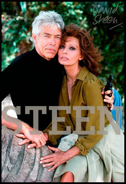 JAMES COBURN & SOPHIA LOREN, ANTIGUA, MAY, 1978. AVAILABLE FOR PURCHASE AT: http://davidsteen.co.uk/17#