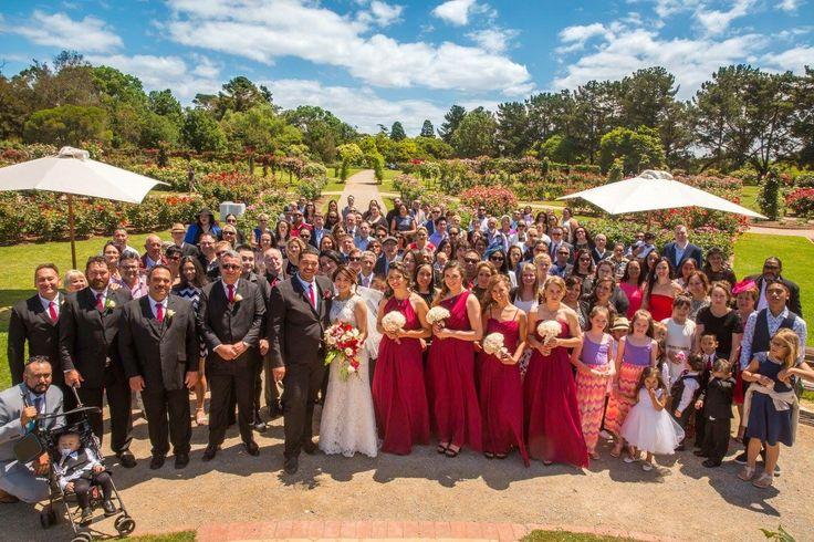 Werribee mansion. Rose Garden. Maroon dresses. iModa dress. Bridesmaids. Groomsmen. Family wedding photo. Family. Friends.