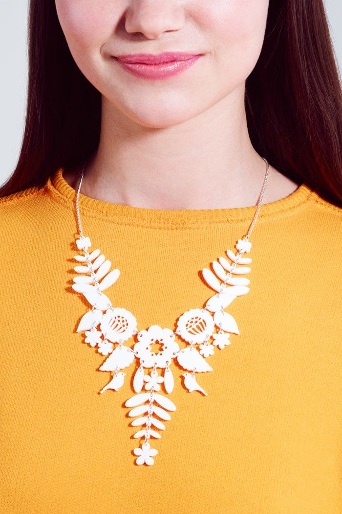 Mexican embroidery necklace white jewels pinterest