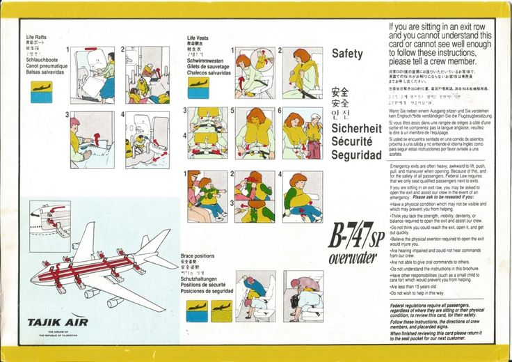 Emergency Information Card of Tajik Air, the national airline of the Republic of Tajikistan from its short-lived operation (Dec 93-Feb 94) between London and Dushanbe,